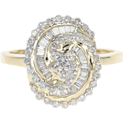 Diamond Swirl Ring - 14k Yellow Gold Cluster Single Cut & Baguette .40ctw