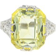 Art Deco Syn Yellow Sapphire Ring 14k White Gold Filigree Solitaire 7.70ct