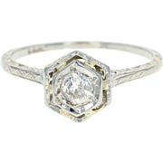 Art Deco Diamond Engagement Ring - 18k White Gold Solitaire Old Mine Cut .36ct