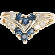 Sapphire & Diamond Ring - 14k Yellow Gold Size 6 1/4 Round Brilliant .75ctw