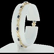 "Sapphire & Diamond Link Bracelet 6 3/4"" - 10k Yellow Gold Oval Brilliant 2.03ctw"