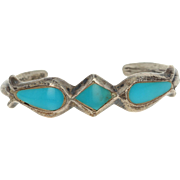 """Native American Cuff Bracelet - Sterling Silver Turquoise 6"""" Vintage Artisan"""