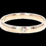 "Edwardian Diamond Oval Bangle Bracelet 7"" - 10k Yellow Gold European Cut .34ct"