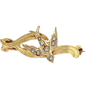 Edwardian Bird Pin - 14k Yellow Gold Pearls Antique Jewelry