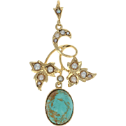 Edwardian Turquoise & Seed Pearl Pendant - 14k Yellow Gold Vintage