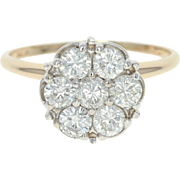 Diamond Cluster Ring - 14k Yellow Gold Round Cut 1.00ctw