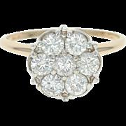 Diamond Cluster Ring - 14k Yellow Gold Round Cut 1.00ctw