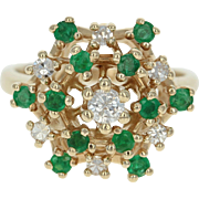 Tiered Emerald & Diamond Cluster Ring - 14k Yellow Gold Round Brilliant .70ctw