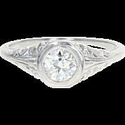 Art Deco Solitaire Engagement Ring - 19k White Gold Vintage European Cut .56ct