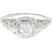 Art Deco Diamond Engagement Ring - 18k White Gold Vintage European Cut .33ct