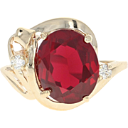 Synthetic Ruby & Diamond Ring - 14k Yellow Gold Oval Brilliant 5.85ctw