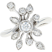 Diamond Spray Ring - 14k Gold Cluster Bypass Round Brilliant & Marquise .54ctw