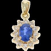 Sapphire & Diamond Halo Pendant - 18k Yellow Gold Oval Brilliant .78ctw