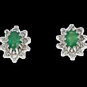 Emerald & Diamond Halo Earrings - 14k White Yellow Gold Studs Pierced 0.76ctw