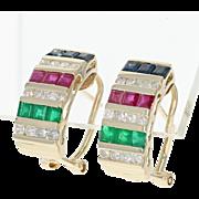 Ruby, Sapphire, Emerald, & Diamond Earrings - 14k Gold J-Hoop Pierced 1.60ctw