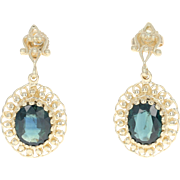 Sapphire Drop Earrings - 14k Yellow Gold Pierced Oval Brilliant 5.50ctw