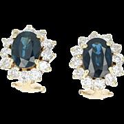 Sapphire & Diamond Halo Earrings - 14k Yellow Gold Pierced 4.54ctw