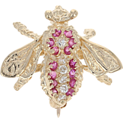 Ruby & Diamond Bee Brooch - 14k Yellow Gold Round Brilliant Cut .24ctw