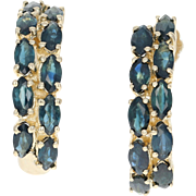Blue Sapphire Journey J-Hook Earrings - 14k Yellow Gold Pierced Women's 3.50ctw