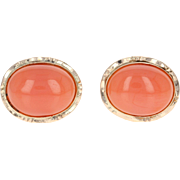Coral Stud Earrings - 14k Yellow Gold Oval Pink Solitaire Pierced