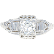 Art Deco Diamond Engagement Ring - 18k White Gold Euro Solitaire 0.42ct GIA