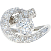 Retro Diamond Cocktail Ring - 14k White Gold Women's Crescent 1940s 1.01ctw