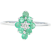 Emerald & Diamond Flower Ring - 14k White Gold Women's 0.73ctw