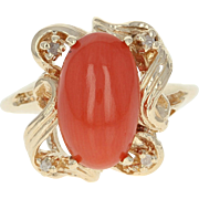 Vintage Coral & Diamond Bypass Ring - 14k Yellow Gold Cabochon 3.06ctw