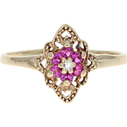 Ornate Flower Ring - 10k Yellow Gold Syn Rubies Cubic Zirconias 0.28ctw