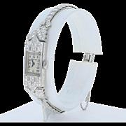 1930s Longines Ladies Diamond Watch - 900 Platinum Mechanical 2 Yr. Wty 3.30ctw