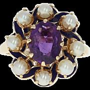 Amethyst & Cultured Pearl Halo Ring - 10k Gold Blue Enamel Oval Brilliant 1.20ct
