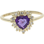 Amethyst & Diamond Halo Ring - 14k Yellow Gold Heart Brilliant .89ctw
