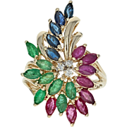 Ruby, Emerald, Sapphire, & Diamond Ring - 14k Gold Cluster Bypass 3.46ctw