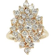 Diamond Cluster Ring - 14k Yellow Gold Tiered Round Cut 2.00ctw