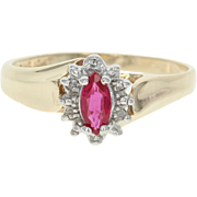 Synthetic Ruby Diamond Halo Ring - 10k Yellow Gold Marquise 0.32ctw