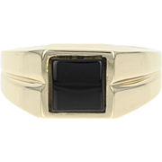 Men's Onyx Ring - 14k Yellow Gold Solitaire Size 9 3/4