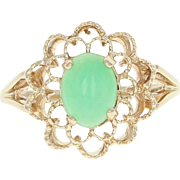 Floral Chrysoprase Ring - 10k Yellow Gold Cabochon Solitaire 1.00ct
