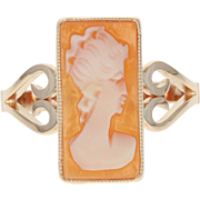Vintage Carved Shell Cameo Ring - 14k Yellow Gold Milgrain Women's Size 7 1/2
