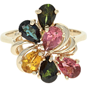 Tourmaline Cluster Ring - 10k Yellow Gold Pear Brilliant 2.50ctw