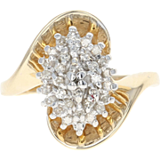 Diamond Cluster Bypass Ring - 10k Yellow Gold Single Cut .26ctw
