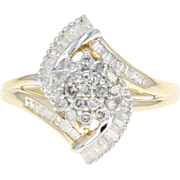 Diamond Cluster Bypass Ring - 10k Yellow Gold Size 7 1/4 Single Cut .50ctw