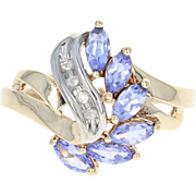 Tanzanite & Diamond Bypass Ring - 10k Yellow Gold Marquise Brilliant .71ctw