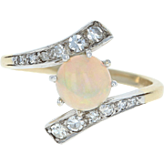 Art Deco Opal & Diamond Bypass Ring - 14k Yellow Gold Vintage Cabochon 1.13ctw
