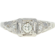Art Deco Diamond Engagement Ring - 18k White Gold Vintage Mine Cut .17ctw