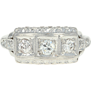Art Deco Diamond Ring - 900 Platinum Three-Stone Vintage European .44ctw