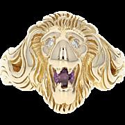 Ruby & Diamond Lion's Head Ring - 14k Yellow Gold Round Brilliant .35ctw
