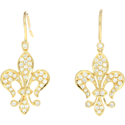 Diamond Fleur-de-lis Drop Earrings - 18k Yellow Gold Pierced Round Cut .72ctw