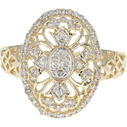 Diamond Floral Halo Ring - 10k Yellow Gold Single Cut .20ctw