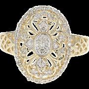 Diamond Floral Halo Ring - 10k Yellow Gold Single Cut .20ctw