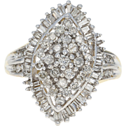 Diamond Cluster Cocktail Ring - 10k Gold Bypass Halo Round Brilliant 1.00ctw